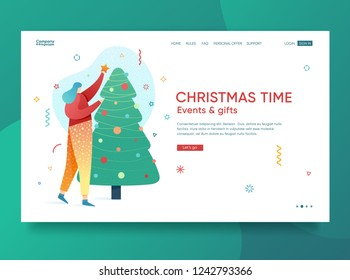 Design winter holidays landing page template. Merry Christmas and Happy New year website layout. Flat people girl characters decoration tree. Trendy illustration for holiday offer banner. Vector.