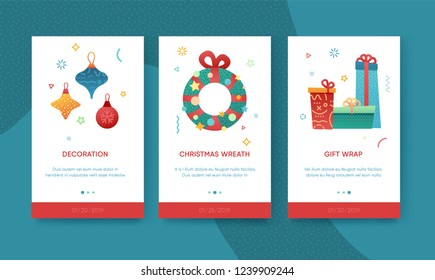 Design winter holidays UI template. Merry Christmas and Happy New year website layout.  Flat Christmas elements icon. Trendy illustration for holiday offer banner. Vector.