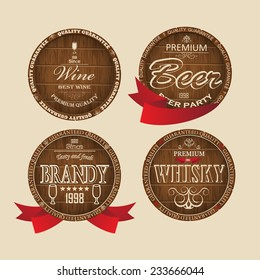 Design wooden label with inscriptions. Vector.
