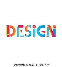 Design Word Abstract Sign in Flat Style. Creative vector logo template. Geometric concept structure.