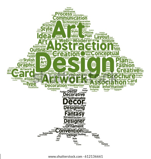 Design Word Cloud Tree Typography Stock Vector (Royalty Free