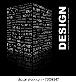 DESIGN. Word collage on black background. Vector illustration. Creative Illustration for presentation.