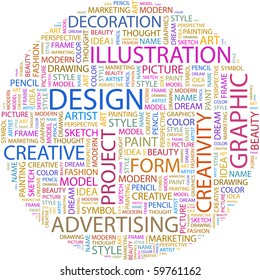 DESIGN. Word collage on white background. Vector illustration.