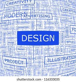 Design. Word collage. Vector illustration.