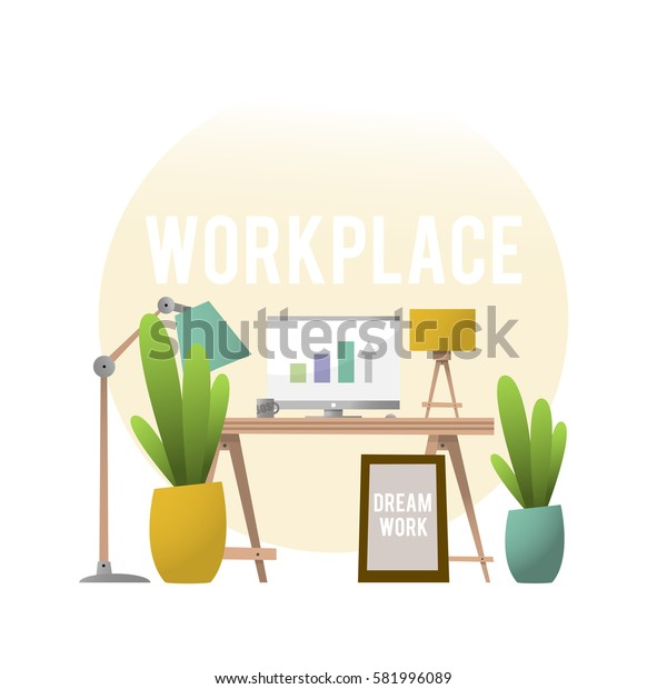The design of the workplace with the furniture and plants. Vector illustration isolated on white background.
