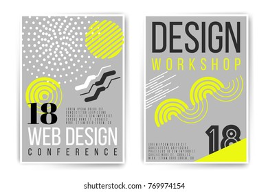 Design workshop, webdesign conference placard. Vector neon fluid abstract poster template. Minimal modern presentation, brochure, cover. Trendy colors edition. Easy to modify and add text.