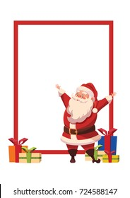 Design For Xmas Poster with Christmas Santa Claus with arms wide open and gifts.Template.