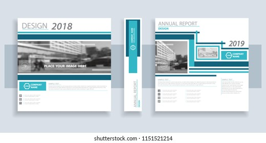 Design,Annual Review, Cover, 2018, 2019 year. Font Set. Blue, green line. Technology annual report, brochure flyer design template, postcard, presentation, abstract geometric background,layout, vector