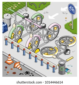 Designated bicycle parking lot with three bikes in a city area close to a street (isometric illustration)