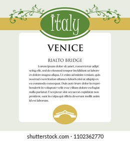 Designe page or menu for Italian products. It can be a guide with information about Italian city of Venice. Ornament of Italian acanthus flowers frames the page. Series. See more pictures in my set
