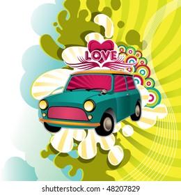 Designed hippie artistic banner. Vector illustration.