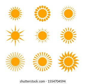 designed yellow sun icon set