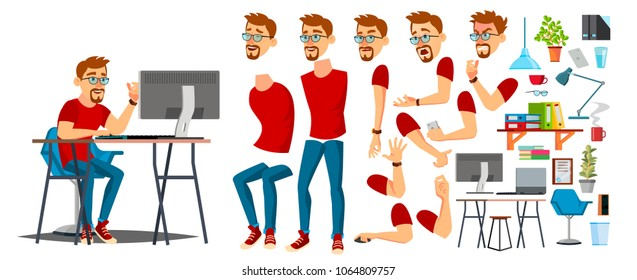 Designer Cartoon Worker Character Vector. Working On Pc Male. Office Designer Animation. Creative Studio. Animation Set. Bearded Salesman, Designer. Face Emotions, Expressions.  Illustration