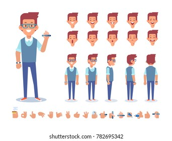 Designer character for your scenes. Front, side, back, 3/4 view. Creation set with various views,  face emotions, gestures and poses. Flat vector illustration.