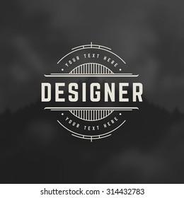 Designer Design Element in Vintage Style for Logotype, Label, Badge and other design. Line art Retro vector illustration.