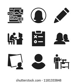 designer icon. 9 designer vector icons set. man typing on computer desk, tailor and web design icons for web and design about designer theme