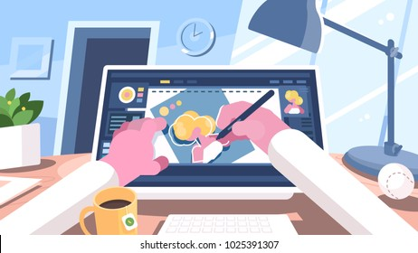 Designer illustrator draws on monoblock computer with pen. Vector illustration