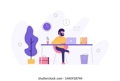 Designer man sitting at a beautiful workplace and working on a project using laptop Office Flat Design Illustration