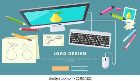 Designer office workspace with tools and devices in modern flat style. Creative process, logo and graphic design, design agency. Top view banner