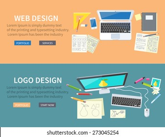 Designer office workspace with tools and devices in modern flat style. Creative process, logo and graphic design, design agency. Top view banners with buttons