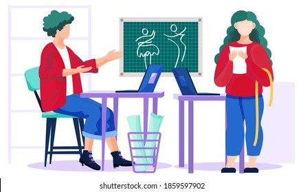 Designer picks up a dress for a girl according to her order sitting at a laptop. Woman is standing next to the computer with a centimeter, holding paper and waiting for a dress vector illustration