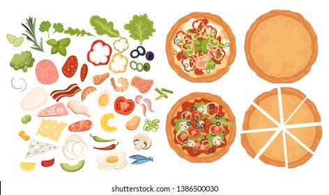 Designer for pizza. Design pizza set. Making pizza. Pizza items collection. Cartoon drawing for children. Cooking. Fast food.