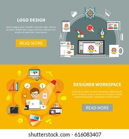 Designer tools banner set with logo design and designer workspace descriptions with read more buttons vector illustration