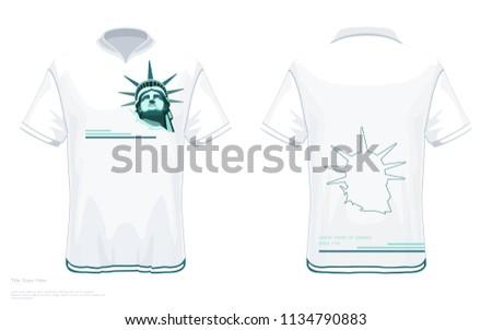 designer tshirt template portrait statue liberty stock vector