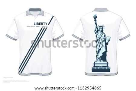 designer tshirt template statue liberty creative stock vector