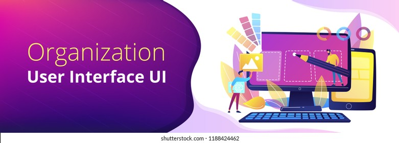 Designers are working on the desing of web page. Web design, User Interface UI and User Experience UX content organization. Web design development concept. Header or footer banner template.