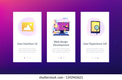 Designers are working on the desing of web page. Web design, User Interface UI and User Experience UX content organization. Web design development concept. Mobile UI UX app interface template.