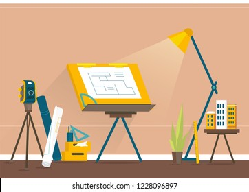 Designer's workplace for creating projects. Banner vector illustration of working cartoon characters in coworking studio. The concept of construction, architecture, design, workplace.