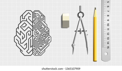 Designing an Artificial Intelligence. Pictogram of a cybernetic brain pictured by drawing tools which is lying beside of it. Illustration on the subject of 'Future Technologies'.