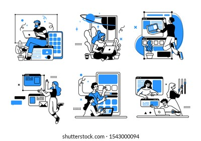Designing Developing and programming technologies illustrations. Collection of scenes at office. Outline vector style.