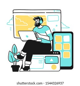 Designing Developing and programming technologies. Programmer or designer working on laptop in a company office.