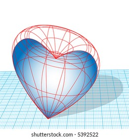 Designing, heartless, cold-hearted. A Valentine heart as a wireframe 3D design on graph paper.
