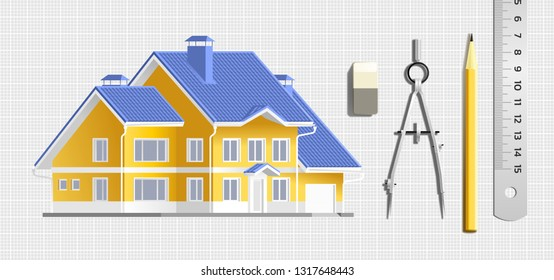 Designing a House. Composition with a graphic draw of a modern house along with drawing tools lying beside on a grid sheet of paper. Vector illustration on the subject of 'Creative Occupations'.