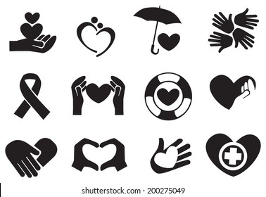 Designs for love and community care icons. Vector illustration.