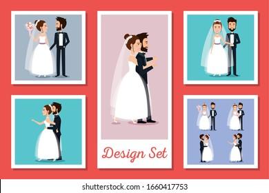 designs set of couples married vector illustration design