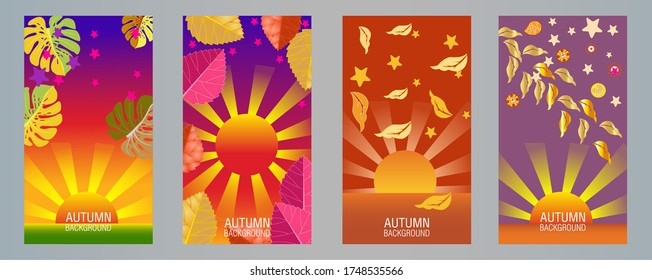 Designs templates of autumn background. Autumn poster, flyer, invitation, card. Vector Illustration