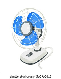 Desk air fan. Device for conditioning room. Comfort electric blower. Wind ventilator. Vector illustration. Isolated white background.