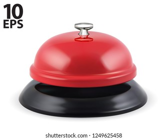 Desk bell. Vintage hotel reception service bell. Realistic vector 3d illustration