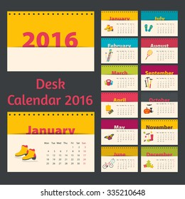 Desk calendar 2016. Flat style with seasonal illustrations.