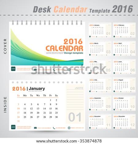 desk calendar 2016 line abstract background stock vector royalty