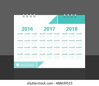 "Desk calendar 2017 back cover design (2016, 2017, 2018) layout template vector for corporate business week start on Sunday. Size 8""x 6"" horizontal. EPS-10"