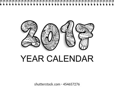 Desk calendar 2017 horizontal cover design with doodle style numbers