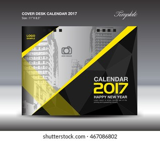 Desk Calendar for 2017 Year, Black and yellow Cover, leaflet, vector, Brochure flyer, poster, advertisement, book, printing layout