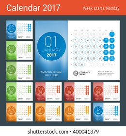 Desk Calendar for 2017 Year. Set of 12 Months. Vector Design Print Template with Place for Photo. Week Starts Monday