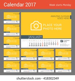 Desk Calendar for 2017 Year. Vector Design Print Template with Place for Photo. Week Starts Monday