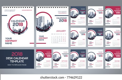 Desk Calendar 2018 template - 12 months included